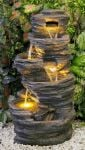 4 Tier Rock Pool Cascade Water Feature with Lights - H100cm