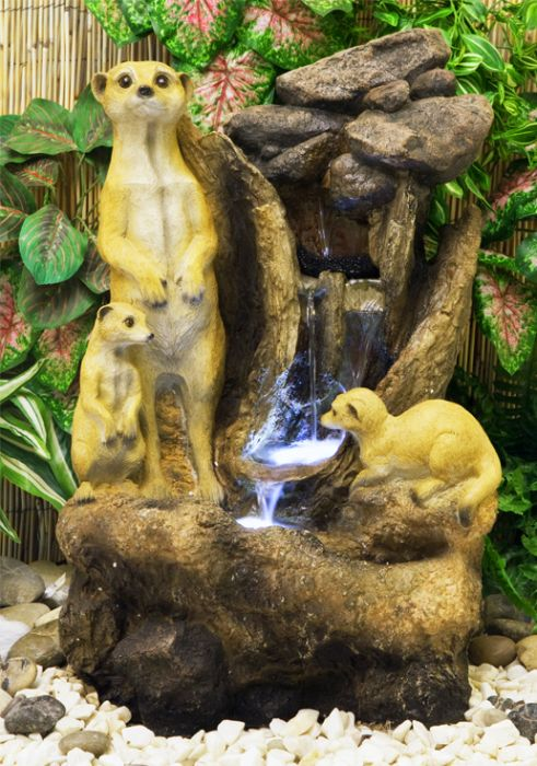 H56cm Meerkat Falls Water Feature with Lights | Indoor/Outdoor Use by Ambienté