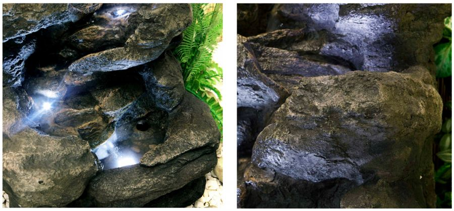 H54cm Four Tier Rock Falls Water Feature with Lights by Ambienté™
