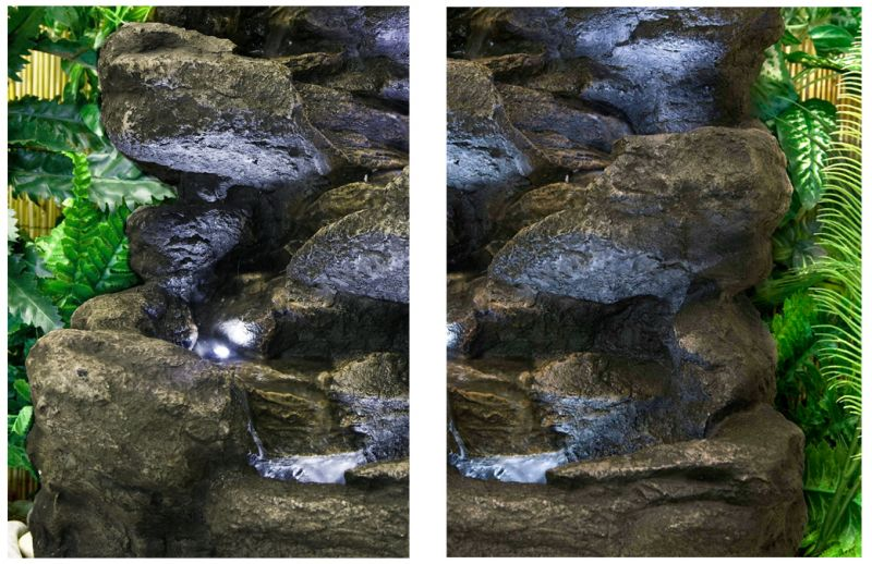 Four Tier Rock Falls Water Feature with Lights - H54cm