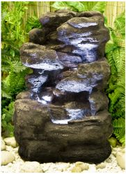 H54cm 4-Tier Rock Falls Water Feature with Lights | Indoor/Outdoor Use by Ambienté