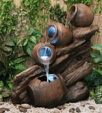 Four Tier Oil Jar Cascade Water Feature with Lights by Ambienté™