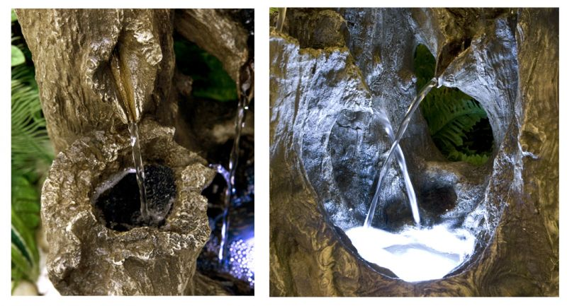 Logger Falls Water Feature with LED Lights - H55cm