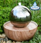 30cm Nevada Falls Stainless Steel Sphere Water Feature With LED Lights