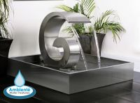 Ammonite 65cm (2ft 1in) Stainless Steel Cascading Water Feature with Stainless Steel Reservoir by Ambienté