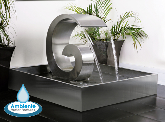 Ammonite 66cm (2ft 2in) Stainless Steel Cascading Water Feature with Stainless Steel Reservoir by Ambienté™
