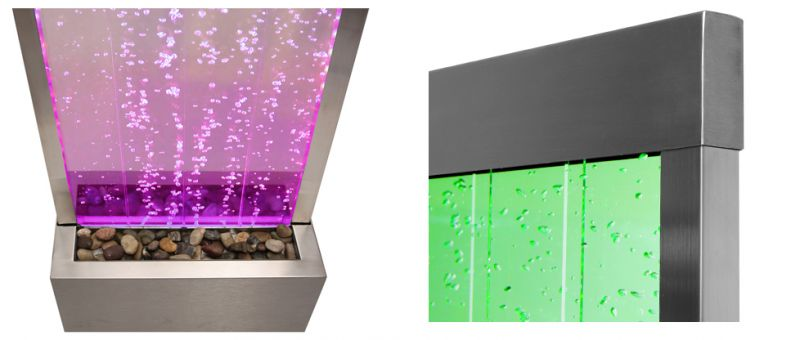 6ft / 184cm Bubble Water Wall with Colour Changing LED Lights - Indoor Use