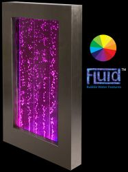 L95cm Hanging Portrait Bubble Water Wall with Colour Changing LEDs | Indoor Use - by Fluid