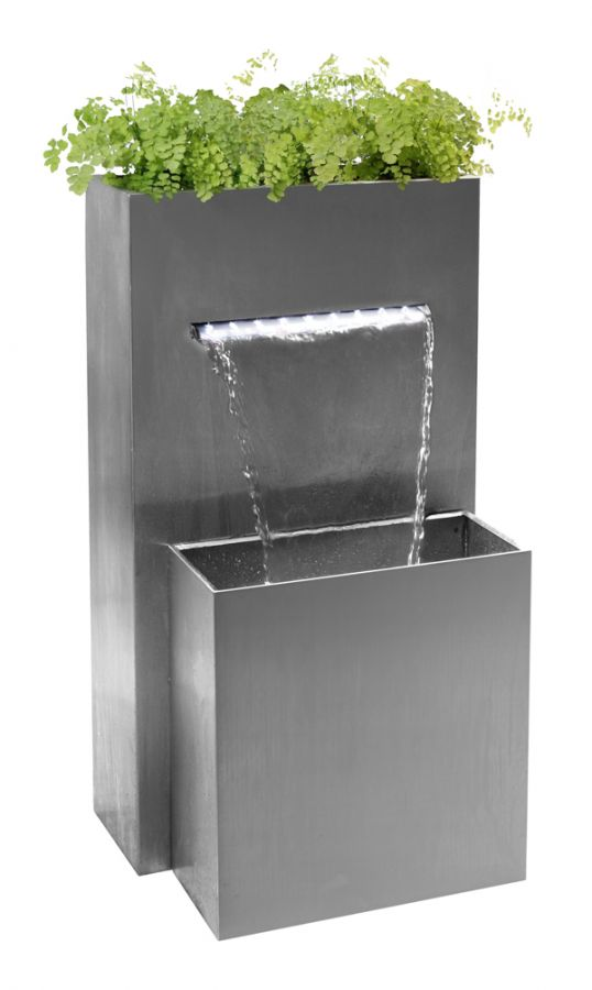 Berkeley Small Rectangular Planter Waterfall Cascade With LED Lights - H89cm x D44cm