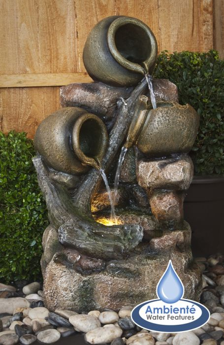 Hoveton Jugs Cascade Water Feature with Lights by Ambienté™