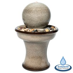 H62.5cm Ronda Grey Sphere Ceramic Water Feature with Lights by Ambienté