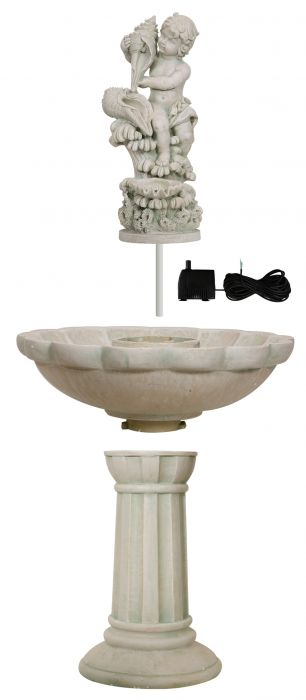 H115cm Cherub with Cascading Sea Shells Fountain by Ambienté™