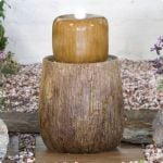 Log Column Water Feature With Lights