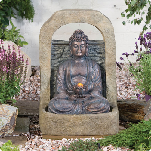 Buddha with Lotus Flower Water Feature with Lights