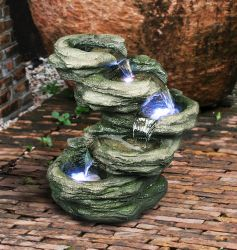 Five Tiered Green Rock Pool Water Feature With Lights