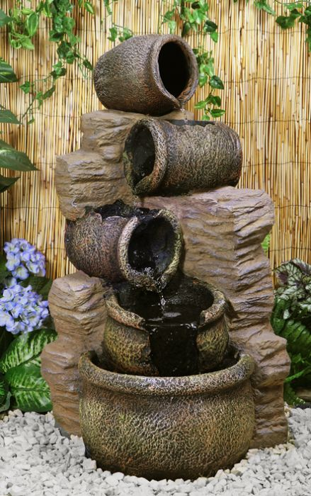 H77cm Cherika Cascading Oil Jars Water Feature | Indoor/Outdoor Use by Ambienté