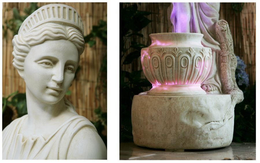 H125cm Lady Liberty Water Feature with Lights in Ivory by Ambienté™