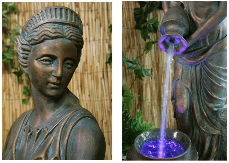 H125cm Bronze Lady Liberty Water Feature with Lights by Ambienté™