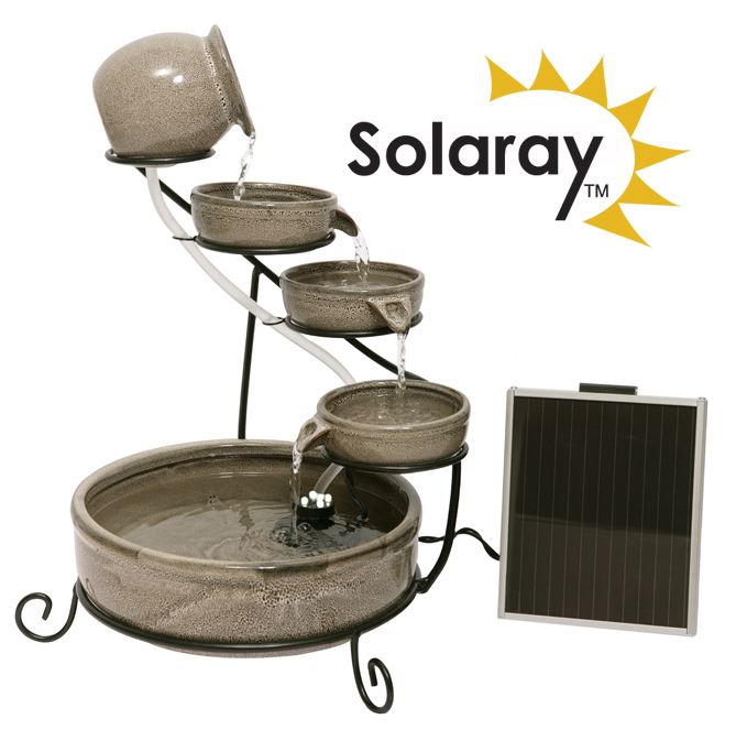 Earthenware Solar Cascade Water Feature with Battery Backup and LED Lights by Solaray™