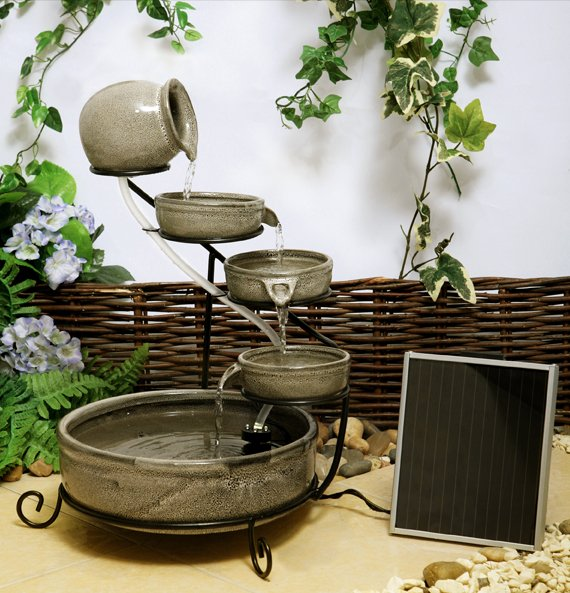55cm Earthenware Solar Cascade Water Feature with Battery Backup and LED Lights by Solaray™