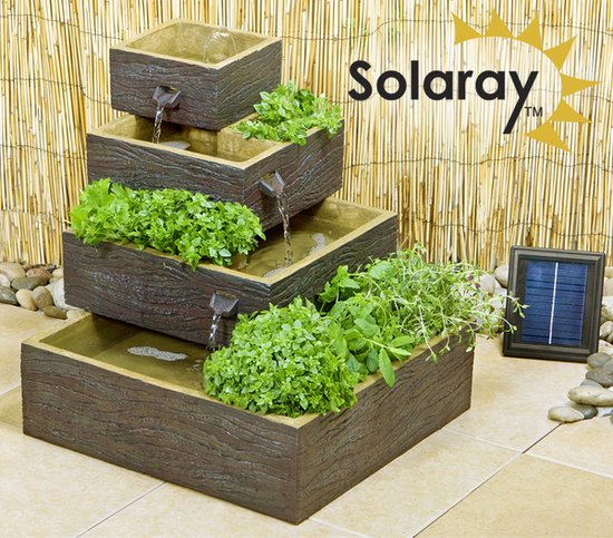 Dalton Square 4-Tier Solar Water Feature Cascading Herb Planter Dark Wood - H42cm x W39cm by Solaray™