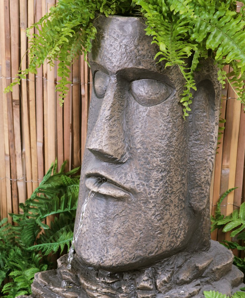 H73cm Easter Island Head Solar Water Feature And Planter