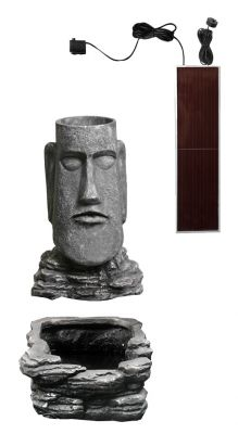 Easter Island Head Solar Water Feature and Planter with LED Lights by Solaray™ - H73cm