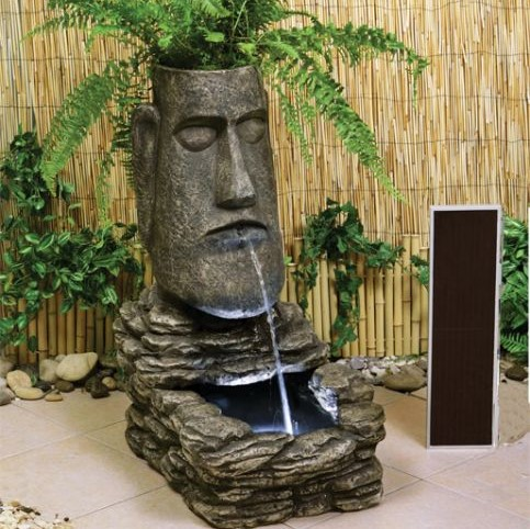 H73cm Easter Island Head Solar Water Feature And Planter With Led