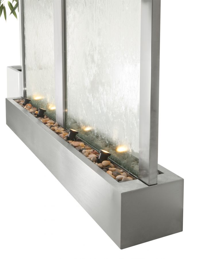"7ft 5"" / H 2.29m x 6ft 4"" / W 1.98m The Colossus Double Width Stainless Steel, Glass Water Wall Cascade by Ambient�"