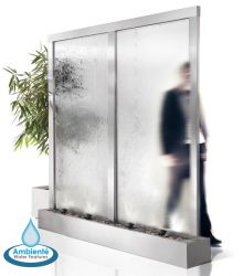 H 2.29m x W 1.98m The Colossus Double Width Stainless Steel, Glass Water Wall Cascade by Ambienté™