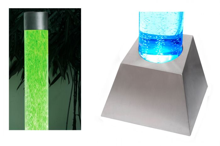 183cm Bubble Tube Water Feature with Colour Changing LED Lights - Indoor and Outdoor Use