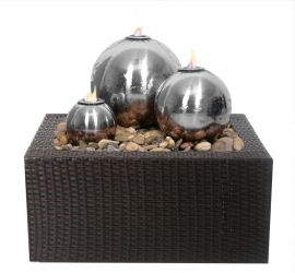 Magma Triple Stainless Steel Fire and Water Feature with Rattan Reservoir Surround by Ambienté™