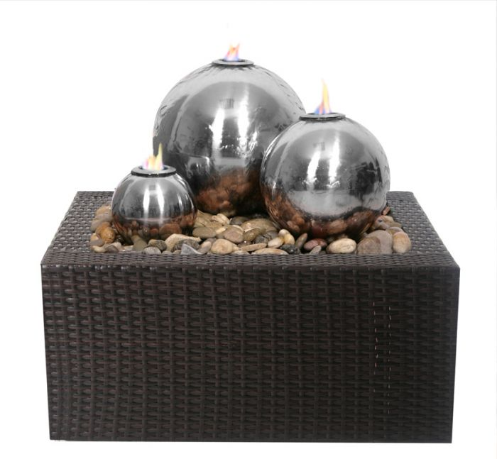 H59cm Magma Triple Sphere Stainless Steel Fire & Water Feature | Indoor/Outdoor Use by Ambienté