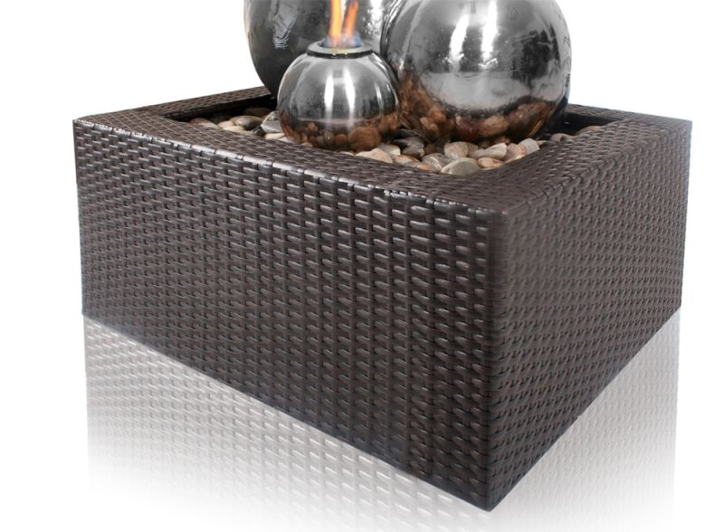Magma Triple Stainless Steel Fire and Water Feature with Rattan Reservoir Surround