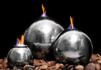 H27cm Magma Triple Sphere Stainless Steel Fire & Water Feature | Indoor/Outdoor Use by Ambienté