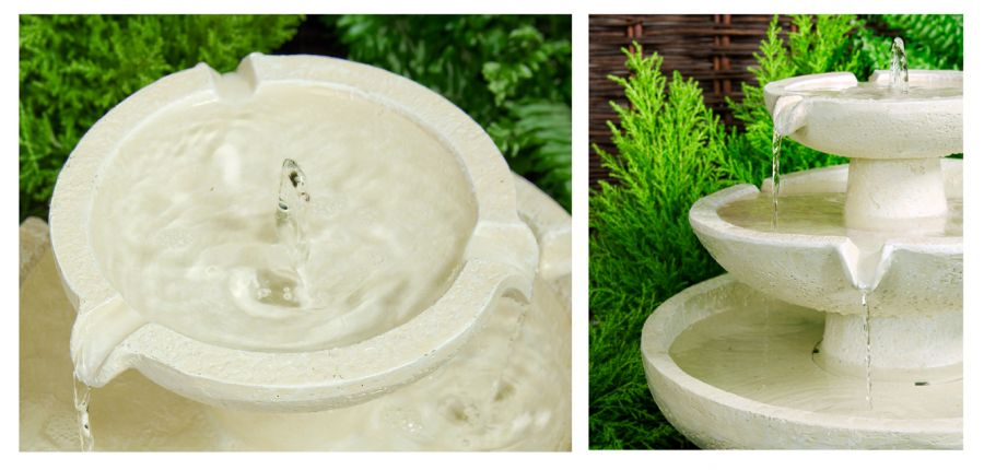 Barnwell Ivory Solar Cascade Three Tier Fountain Water Feature (H42cm) by Solaray™