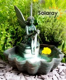 H30cm Fairy on Clam Shell Programmable Solar Water Feature with Lights by Solaray