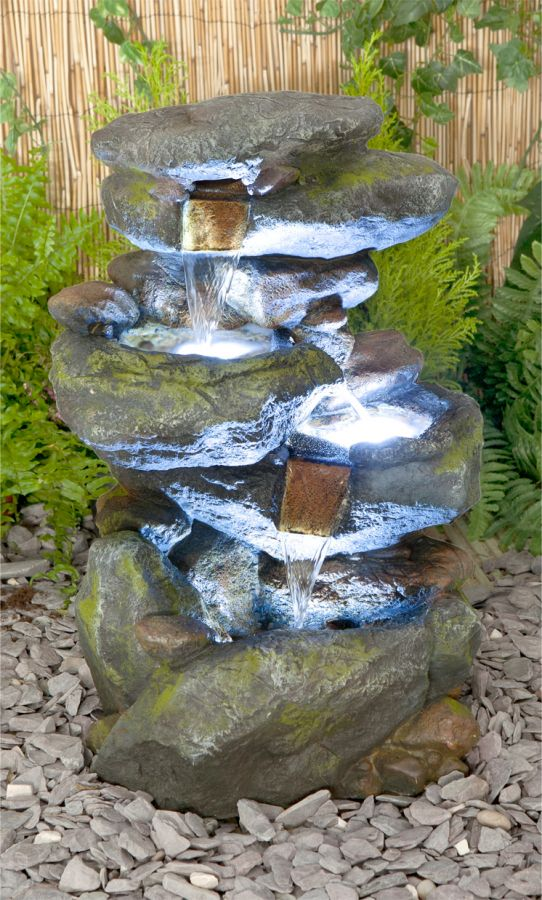55cm Bekko Falls 3 Tier Cascading Water Feature with Lights