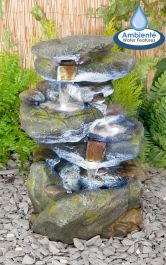 H55cm Bekko Falls 3-Tier Cascading Water Feature with Lights by Ambienté