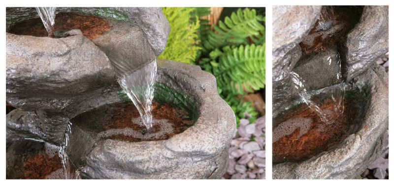 Sanke Steps 5 Tier Cascading Water Feature with LED Lights - H56cm