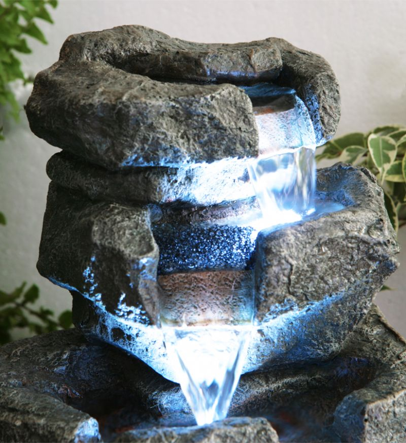 36cm Shubunkin Spills 4 Tier Cascading Water Feature with LED Lights