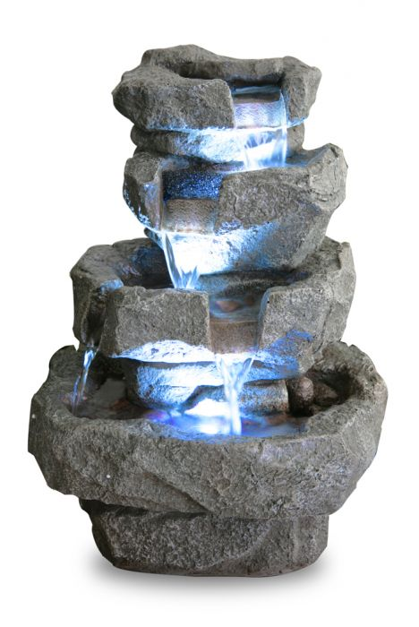 36cm Shubunkin Spills 4 Tier Cascading Water Feature with LED Lights by Ambienté™