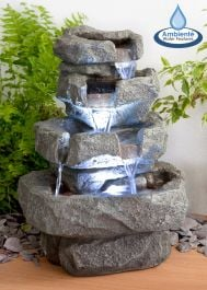 H36cm Shubunkin Spills 4-Tier Cascading Water Feature with Lights by Ambienté
