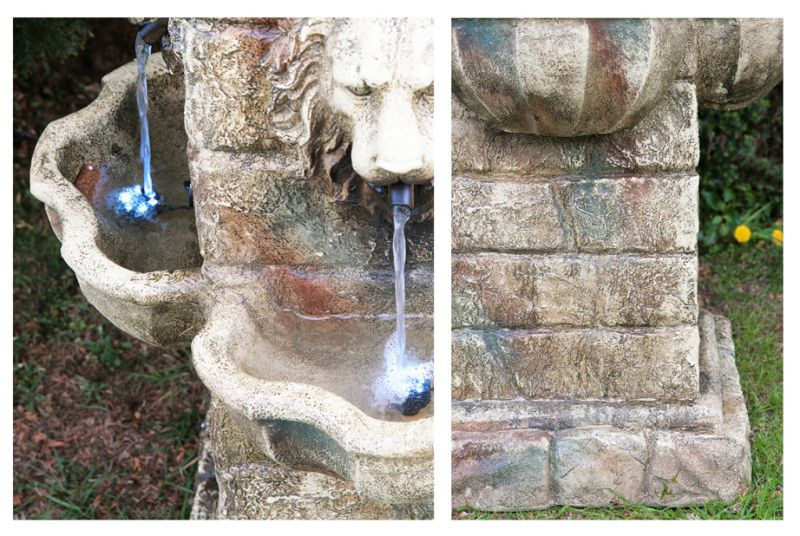 Majestic Lion Water Fountain with LED Lights - H100cm