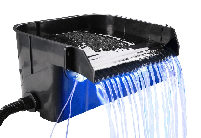 45.5cm Ravana Falls Acrylic Cascade Blade Water Feature With Interchangeable Flow Plate and Blue LED Light Kit