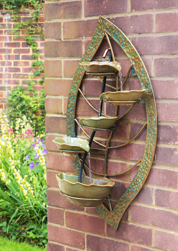 Verdigris Leaf Wall Mounted Cascade Water Feature