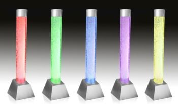"4ft 2"" / 130cm Bubble Tube Water Feature with Colour Changing LED Lights - Indoor and Outdoor Use"