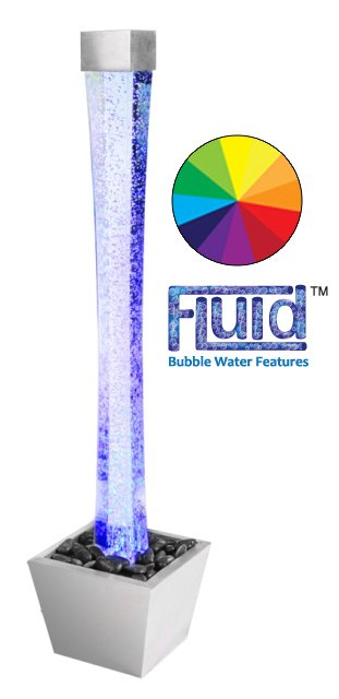"4ft 2"" / 130cm Square Bubble Column Water Feature with Colour Changing LED Lights - Indoor and Outdoor Use"