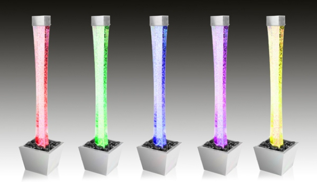 6ft / 183cm Bubble Tube Water Feature with Colour Changing LED Lights - Indoor and Outdoor Use