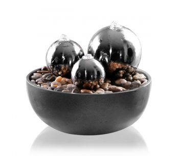 Havasu Falls Stainless Steel Spheres Water Feature with Lights